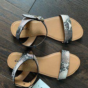 Qupid Shoes - Qupid Beige Brown Snake Animal Leather Flat Sandal